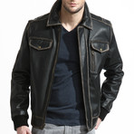 Distressed Leather Bomber // Black (L)
