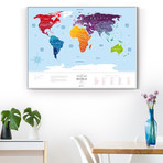 World Travel Map // Blue + Silver