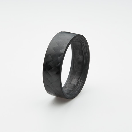 Pure Carbon Fiber Ring // Diagonal Pattern // Gloss Finish (Size 6)