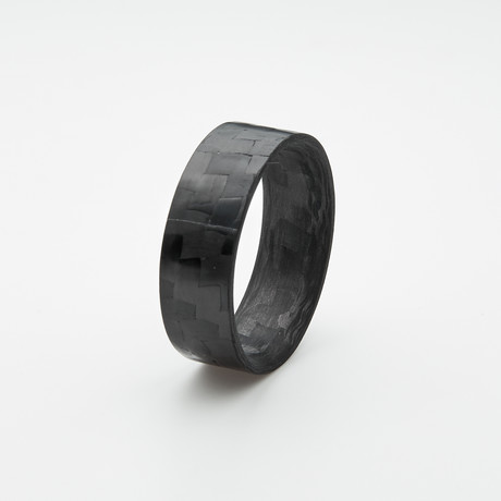 Pure Carbon Fiber Ring // Horizontal Pattern // Gloss Finish (Size 6)