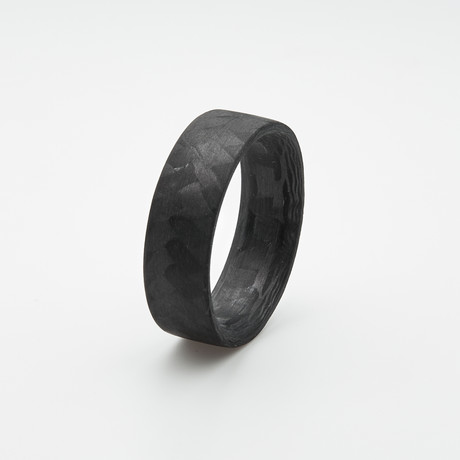 Pure Carbon Fiber Ring // Diagonal Pattern // Matte Finish (Size 6)