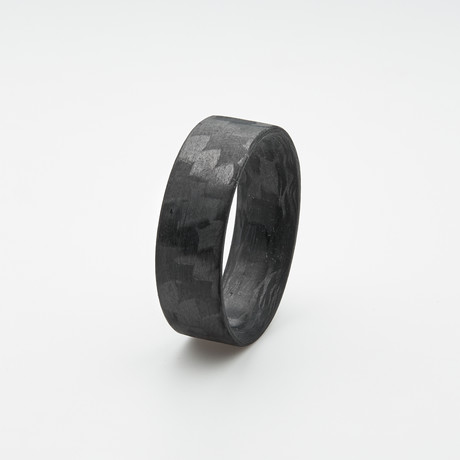 Pure Carbon Fiber Ring // Horizontal Pattern // Matte Finish (Size 6)
