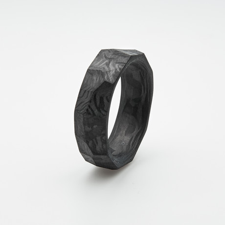 Pure Carbon Fiber Ring // Rough Cut (Size 6)