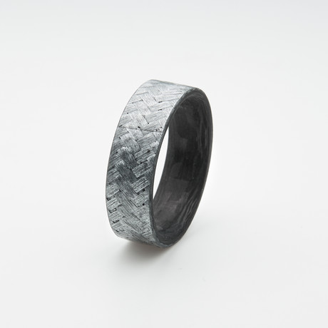 Pure Carbon Fiber Ring // Diagonal Pattern // Two Tone Texalium (Size 6)