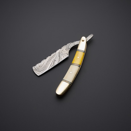 Pro Smooth Shave Yellow Brass Bone Razor Damascus // SH-1
