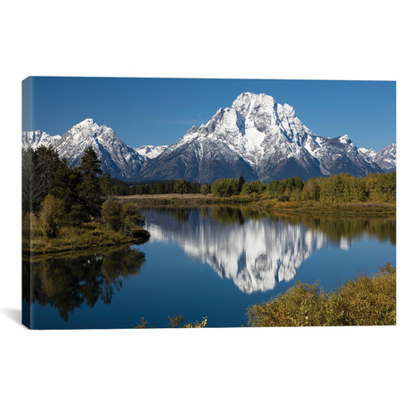 "Reflection Of Mountain And Trees On Water, Teton Range, Gran // Panoramic Images (26""W x 18""H x 0.75""D)"