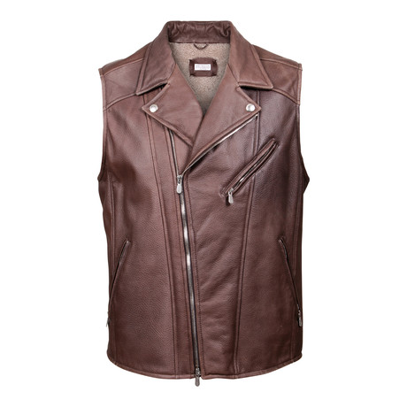 Zedd Fur Lined Leather Motto Vest // Brown (XS)