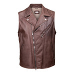Zedd Fur Lined Leather Motto Vest // Brown (S)