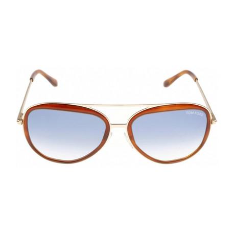 Men's Sam Sunglasses // Gold Havana + Blue Gradient