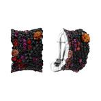 Stefan Hafner 18k White Gold Black Diamond + Ruby + Sapphire Earrings