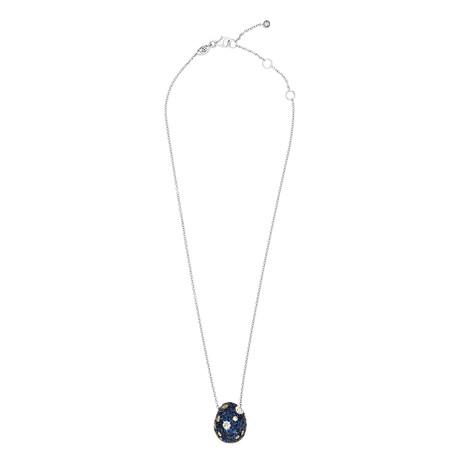 "Stefan Hafner Edera 18k White Gold Diamond + Sapphire Necklace // Necklace Length: 15"""