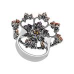 Stefan Hafner Aria 18k Black Gold Garnet + Amethyst Ring // Ring Size: 7.5
