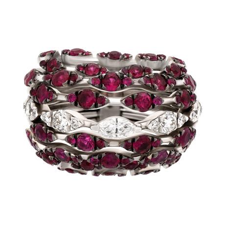 Stefan Hafner Cigni 18k White Gold Diamond + Ruby Ring // Ring Size: 7