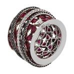 Stefan Hafner 18k White Gold Diamond + Ruby Ring // Ring Size: 7