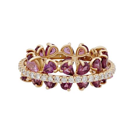 Stefan Hafner Acqua 18k Pink Gold Diamond Tourmaline + Sapphire Ring // Ring Size: 7.25