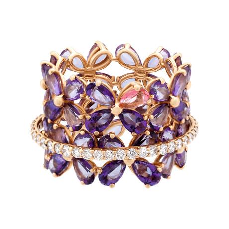 Stefan Hafner Acqua 18k Pink Gold Diamond + Topaz Ring // Ring Size: 7