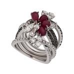 Stefan Hafner Arianna 18k White Gold Diamond + Ruby Ring // Ring Size: 7.75