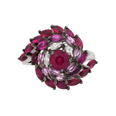 Stefan Hafner 18k White Gold Diamond + Ruby + Sapphire Ring // Ring Size: 7.25
