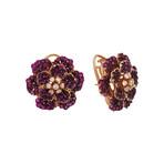 "Stefan Hafner Dalida 18k Rose Gold Diamond + Sapphire Earrings // Earring Drop: 1"""