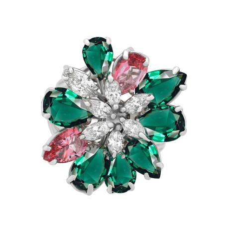 Stefan Hafner Fiori di Bach 18k White Gold Diamond Emerald + Sapphire Ring // Ring Size: 6.5