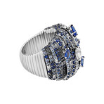 Stefan Hafner Ocean 18k White Gold Diamond + Sapphire Ring // Ring Size: 6.5