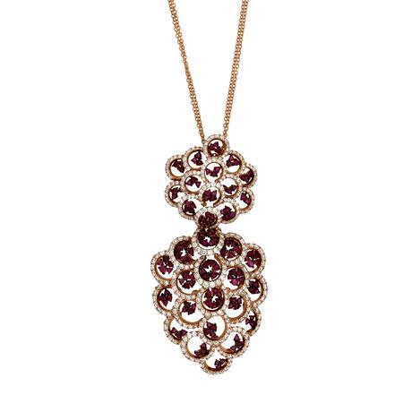 Stefan Hafner Jasmine 18k Rose Gold Diamond + Ruby Necklace