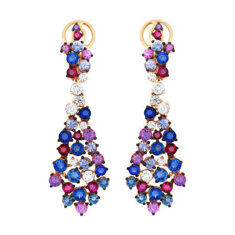 Stefan Hafner Aria 18k Pink Gold Diamond Ruby + Sapphire Earrings