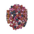 Stefan Hafner 18k Pink Gold Diamond + Sapphire + Ruby Ring // Ring Size: 6.5