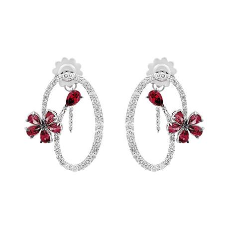 Stefan Hafner Aristocratica 18k White Gold Diamond + Ruby Earrings