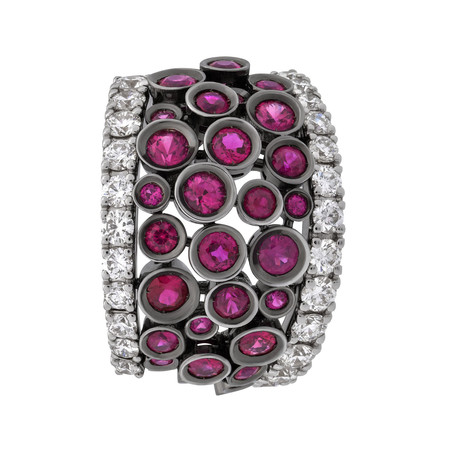 Stefan Hafner Lace Couture 18k White Gold Diamond + Ruby Ring // Ring Size: 6.25