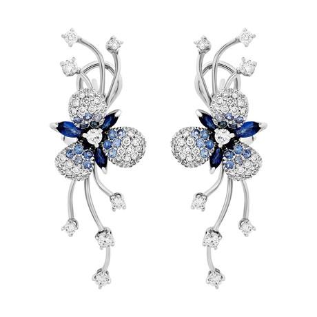 Stefan Hafner Flower 18k White Gold Diamond + Sapphire Earrings
