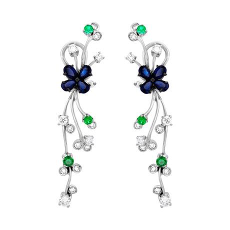 Stefan Hafner Flower 18k White Gold Diamond Sapphire + Emerald Earrings // 19621EA203-1478