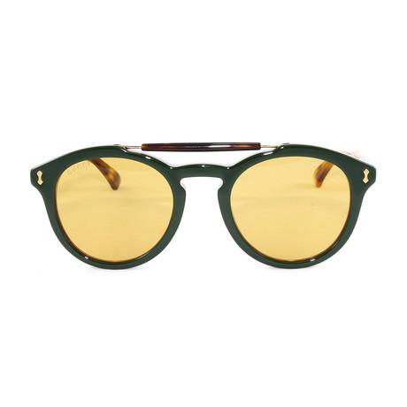 Gucci Unisex Sunglasses // GG0124S // Green Havana + Yellow