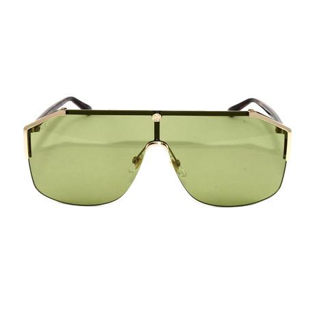 Unisex GG0291S Sunglasses // Gold Avana + Green