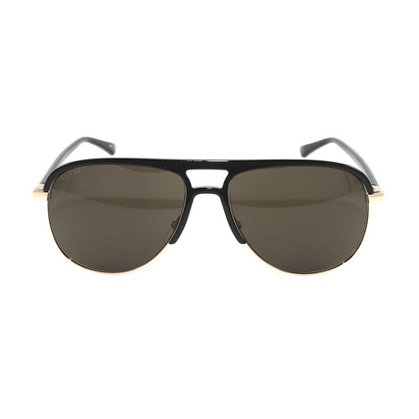 Men's GG0292S Sunglasses // Black + Dark Brown