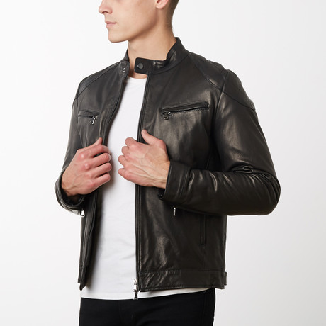 U410 Lamb Leather Quilted Biker Jacket // Black (Euro: 44)
