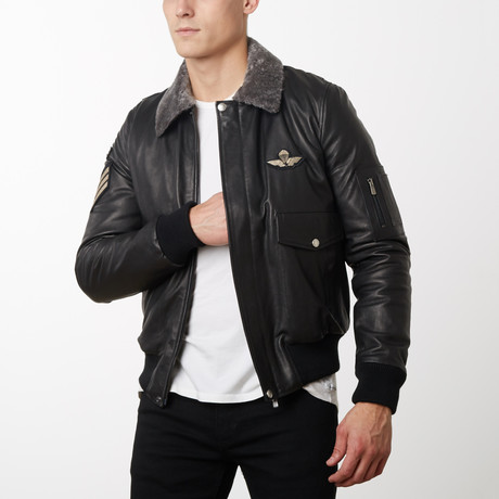 Aviator Stemma Lamb Leather Bomber Jacket // Black (Euro: 44)