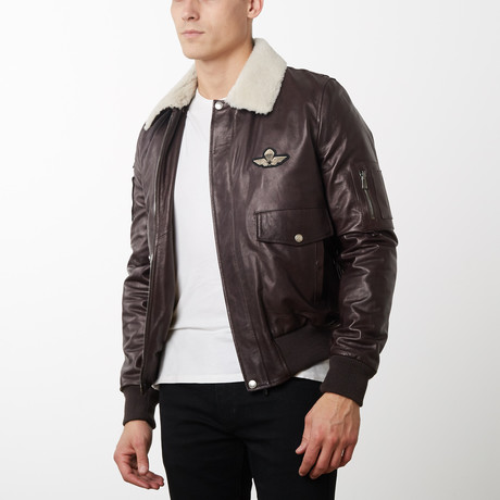 Aviator Stemma Lamb Leather Bomber Jacket // Dark Brown (Euro: 44)