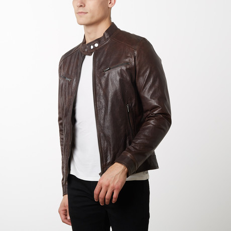 Lamb Leather Biker Jacket // Dark Brown (Euro: 44)