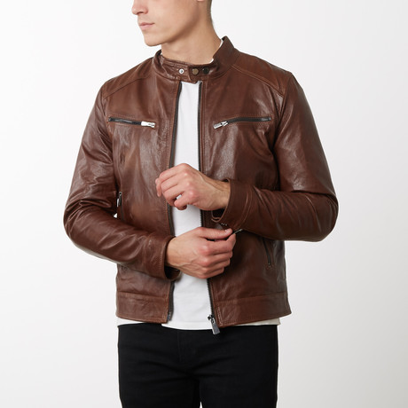 Hamilton pullup Lamb Leather Biker Jacket // Tan (Euro: 44)