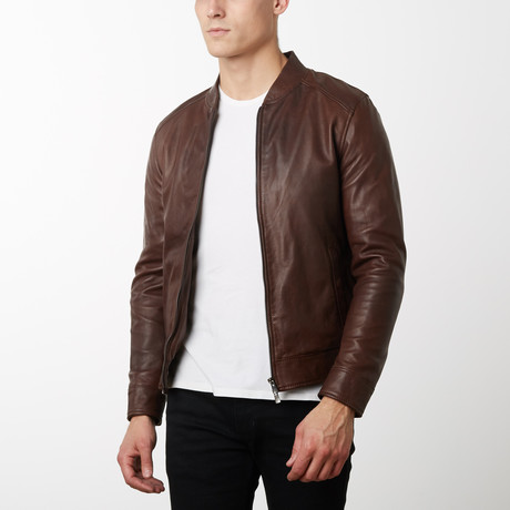 Marlon Vintage Lamb Leather Jacket // Brown (Euro: 44)