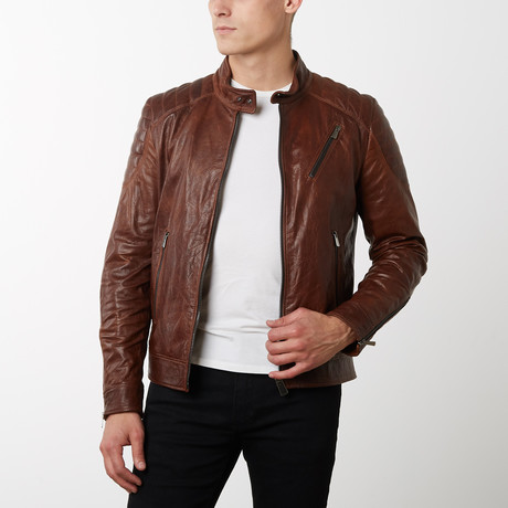 U411 Vintage Lamb Leather Quilted Jacket // Tan (Euro: 44)