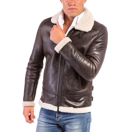 Peter Shearling Leather Jacket Beige Collar // Brown (Euro: 44)