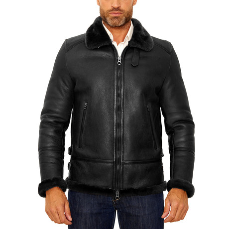 Peter Shearling Leather Jacket // Black (Euro: 54)