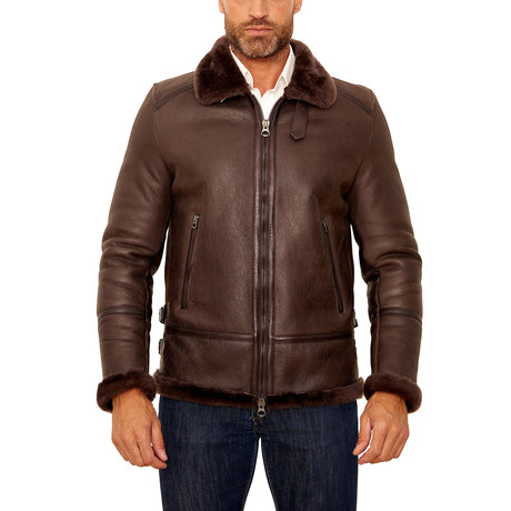 Peter Shearling Leather Jacket // Dark Brown (Euro: 44)