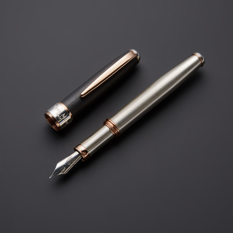 Satin 925 Solid Silver Fountain Pen // 18k Rose Gold + Silver Plated Fittings (Fine Point Nib)