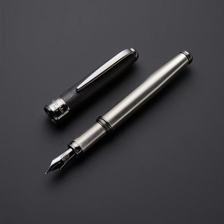 Satin 925 Solid Silver Fountain Pen // Black Gold Plated Fittings (Fine Point Nib)