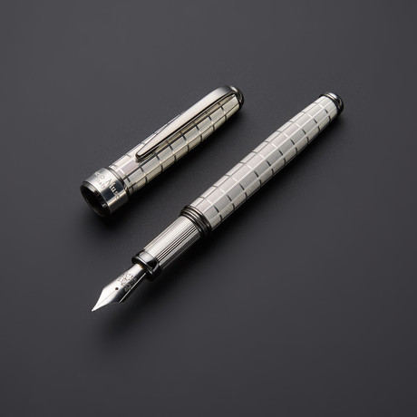 Chessboard 925 Solid Silver Fountain Pen // Black Gold + Silver Plated Fittings (Fine Point Nib)