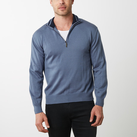Paolo Lercara Half-Zip Sweater // French Blue (S)