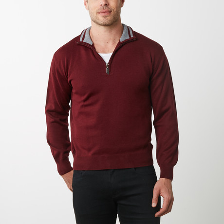 Paolo Lercara Half-Zip Sweater // Wine (S)